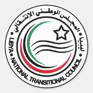 sello transitorio del consejo de Libia Pegatina Redonda