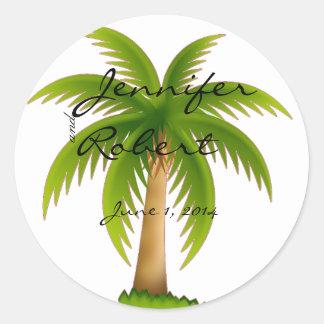 Sello tropical del sobre de la palmera pegatina redonda