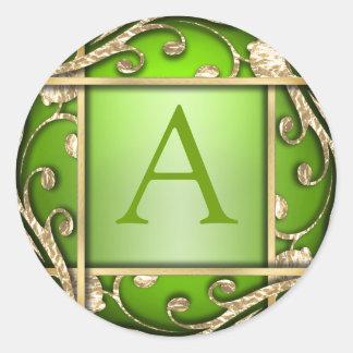 Sello verde claro del sobre del monograma del pegatina redonda