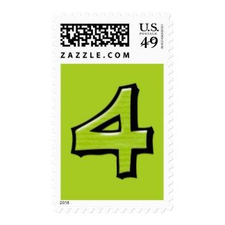 Sello verde de los números 4 tontos