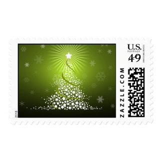 Sello verde del árbol de navidad del vector