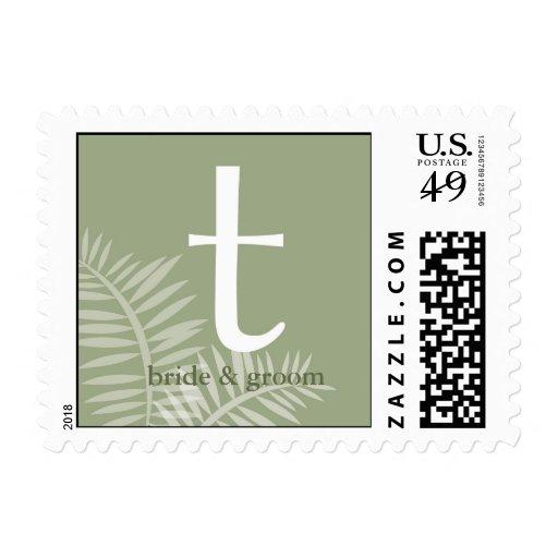 Sello verde del monograma T de la palma