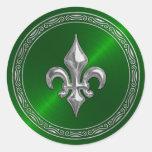 Sello verde del sobre de la flor de lis de Sheen y Etiqueta Redonda