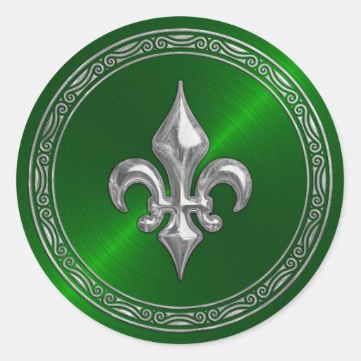 Sello verde del sobre de la flor de lis de Sheen y Pegatina Redonda