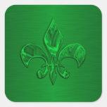 Sello verde del sobre de la flor de lis calcomanías cuadradass personalizadas