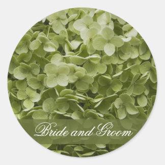 Sello verde del sobre del boda del Hydrangea de Pegatina Redonda