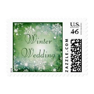 Sello verde hivernal del boda del invierno
