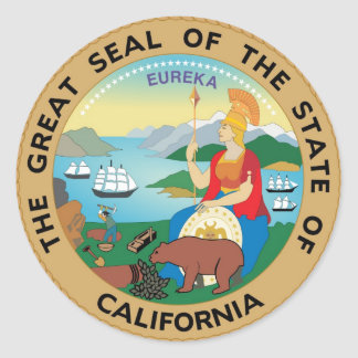 Sello y lema del estado de California Pegatina Redonda