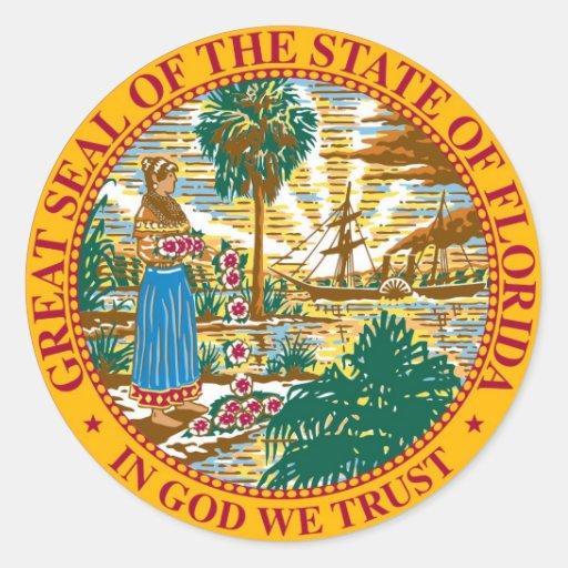 Sello y lema del estado de la Florida Pegatinas Redondas
