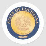 Sello y lema del estado de Luisiana Pegatina Redonda