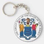Sello y lema del estado de New Jersey Llavero Redondo Tipo Pin