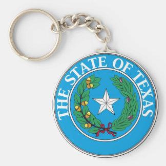 Sello y lema del estado de Tejas Llavero Redondo Tipo Pin
