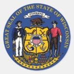 Sello y lema del estado de Wisconsin Pegatinas Redondas