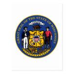 Sello y lema del estado de Wisconsin Tarjeta Postal