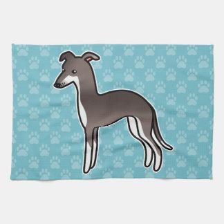 Sello y perro blanco del dibujo animado del galgo toallas de cocina
