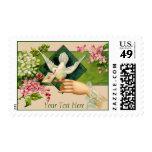 Sellos adaptables de la postal del Lovebird del vi