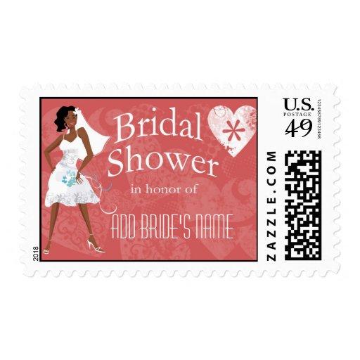 Sellos afroamericanos de la ducha del boda