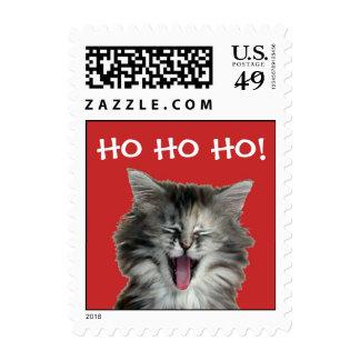 Sellos alegres del gatito del navidad