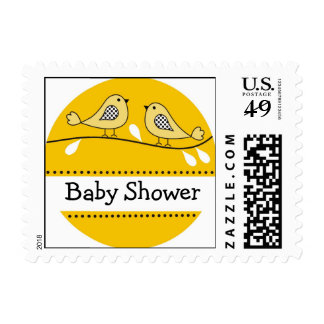 Sellos amarillos de la fiesta de bienvenida al beb