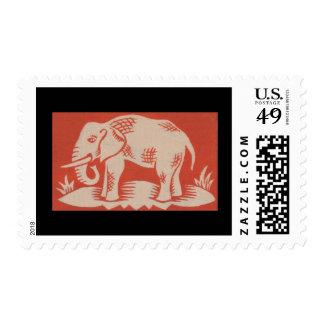 Sellos anaranjados del arte del elefante de los añ