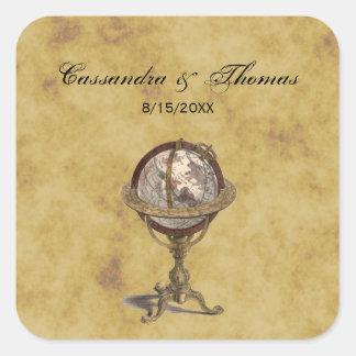 Sellos apenados globo antiguo del sobre de Celest Pegatina Cuadrada