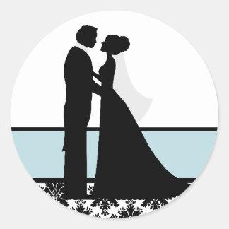 Sellos azules de los pares del boda del mar pegatina redonda