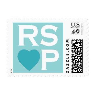 Sellos azules de RSVP del corazón