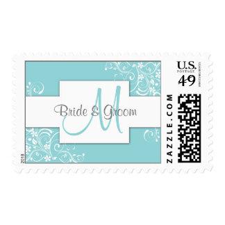 Sellos azules del boda del monograma