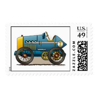 Sellos azules del coche de carreras del vintage