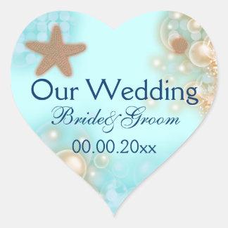 Sellos azules del compromiso del boda de la pegatina en forma de corazón