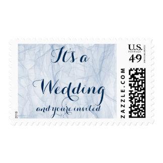 Sellos azules elegantes del boda de la escritura