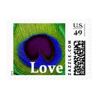 Sellos azules púrpuras verdes del amor de la pluma