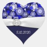 Sellos azules y blancos del invierno del copo de n pegatinas