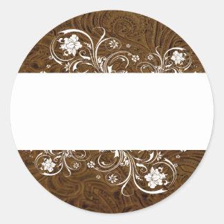 Sellos blancos del cordón de la mirada del cuero pegatinas redondas