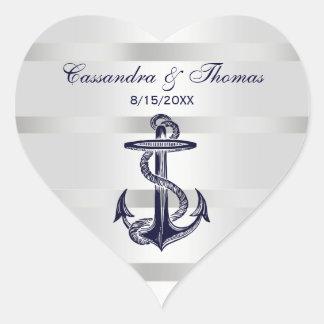 Sellos blancos del sobre de BG H del ancla náutica Pegatina En Forma De Corazón
