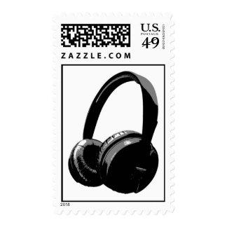 Sellos blancos negros grises del auricular del art