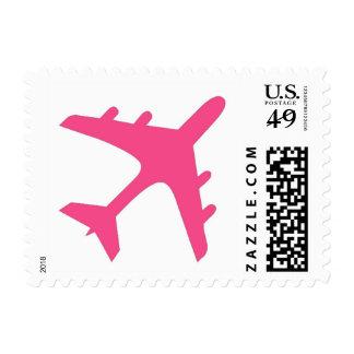 Sellos blancos rosados del diseño del aeroplano