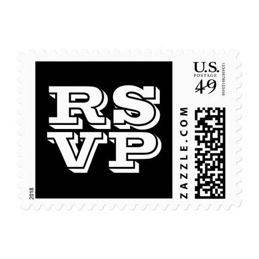 Sellos blancos y negros de RSVP