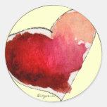 Sellos carmesís del sobre de los corazones del pegatina redonda