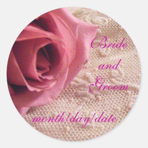 Sellos color de rosa y del cordón rosados del pegatina redonda