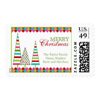 Sellos coloridos de los árboles de navidad