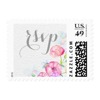 sellos coloridos de RSVP de la acuarela que se