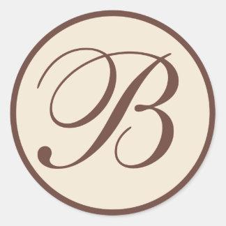 Sellos cones monograma del sobre de Brown y de la Etiquetas Redondas