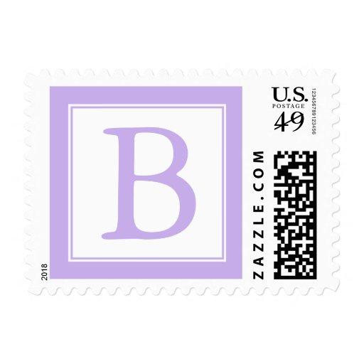 Sellos cones monograma púrpuras y blancos