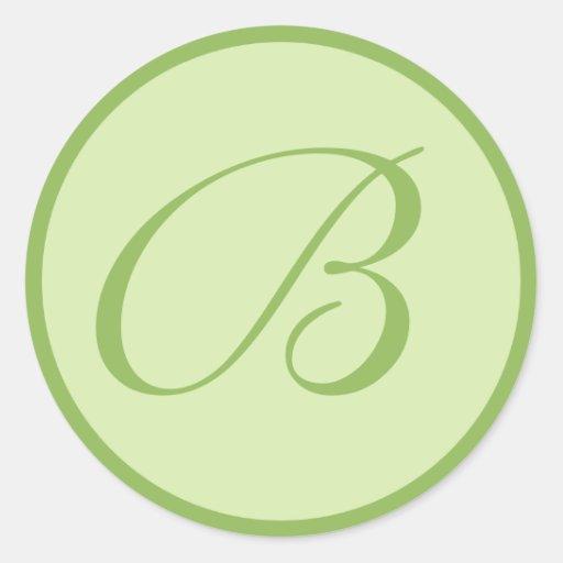Sellos cones monograma verdes del sobre del boda etiquetas redondas