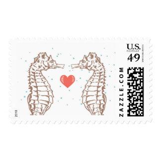 Sellos coralinos del boda del amor del corazón y