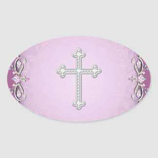 Sellos cruzados rosados del sobre de la flor del pegatina ovalada