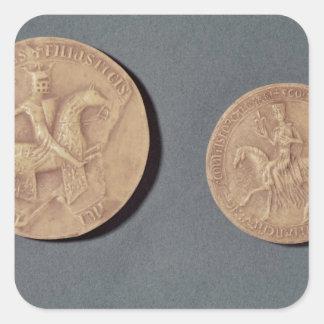 Sellos de Charles I de Anjou Pegatina Cuadrada