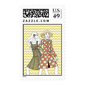 Sellos de Chevron de la moda de la vintage mujer
