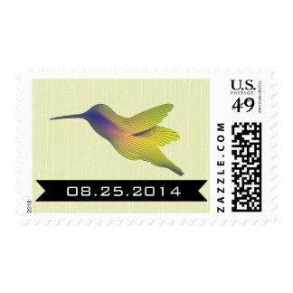 Sellos de encargo del boda del colibrí colorido